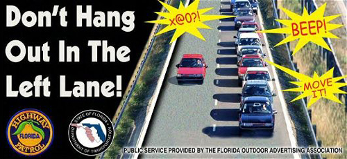 Humorous Image of Slow Vehicle in High Speed Lane