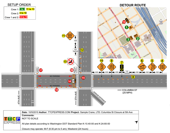Numbered Traffic Control Plans Diagram